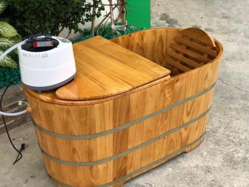Bồn tắm gỗ oval đẹp